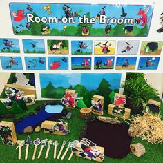 Our new 'Room on the Broom' small world play area Children are able to engage with one of our favourite texts through dramatic play and story sequencing Eyfs Activities, Nursery Activities, Book Activities, Autumn Activities, Indoor Activities, Play Based Learning, Learning Through Play, Early Learning, Book Area