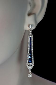 Art Deco Sapphire and Diamond Dangle Earrings from romanovrussia on Ruby Lane