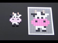 Cute Cow Perler Bead Pattern.  Laceys Crafts is all about sharing super simple and adorable crafts for kids. Enjoy!