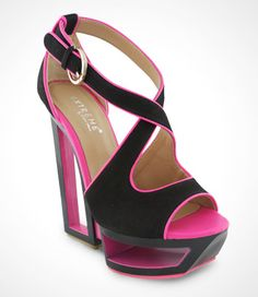 #Eddie #Marc Wedge #Heels love the use of negative space and hidden pop color of pink underneath! <3