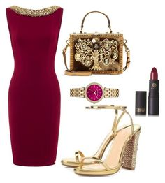 """""""gold bordeux"""" by msirenefaith on Polyvore featuring Lipstick Queen, Dolce&Gabbana and MICHAEL Michael Kors"""