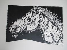 blind horse, linoleum carving print
