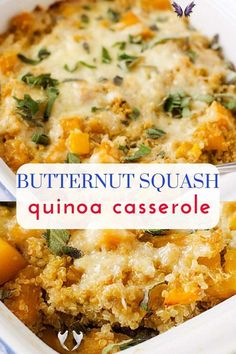 Butternut Squash Quinoa Casserole You are going to love this healthy Butternut Squash Casserole!  It cheesy and so easy to make!  The perfect vegetarian dish for your clean eating diet!  #ButternutSquashCasserole #quinoa #quinoarecipes #healthyrecipes #healthyfood #glutenfree #glutenfreerecipes #healthyglutenfreerecipes<br> This Butternut Squash Casserole with Quinoa will blow your mind away! Butternut squash and quinoa are a match made in heaven.  Healthy and delicious, this is a dish that… Clean Eating Vegetarian, Vegetarian Main Dishes, Clean Eating Dinner, Vegetarian Recipes Dinner, Healthy Recipes, Healthy Vegetarian Casserole, Healthy Squash Casserole, Vegetarian Sandwiches, Zucchini Casserole