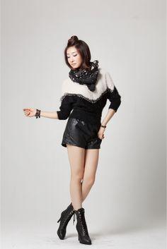 Monochrome Mohair Knit   Korean Fashionista