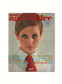 Image of Twiggy Cover of Mademoiselle Age Tendre 1967 | Available from VintageinPrint.co.uk