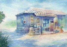 【水彩画テラス】沖縄の風景「涼風離島の茶屋」竹富島/水彩画