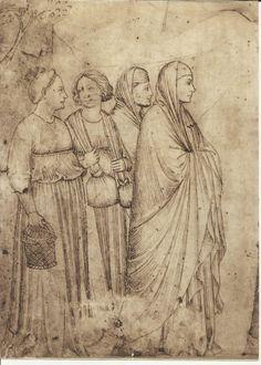 Bernardo Daddi - Visitazione (particolare) – Tradizionalmente, senza sicuro fondamento, attribuito a Giotto. Firenze, Uffizi - Pittore fiorentino, attivo nella prima metà del sec. XIV e legato inizialmente all'arte di Giotto. In un periodo successivo si accostò, per il probabile influsso di Ambrogio Lorenzetti, alla pittura senese contemporanea.