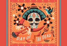 Coral Day Of The Dead Welcome Mat