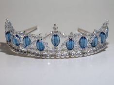 Lovely Blue Beaded Tiara with Crystals and Pearls