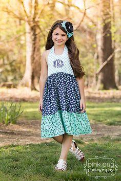 Girls Dress Sewing Pattern, Halter Dress Pattern by little lizard king