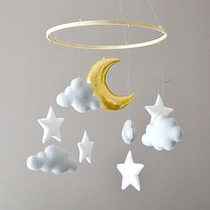 Moon nursery - Nursery Ideas Clouds Felt nursery mobile with clouds stars and moon Clouds Nursery, Moon Nursery, Star Nursery, Girl Nursery, Nursery Room, Bedroom, Felt Mobile, Baby Mobile, Cloud Mobile