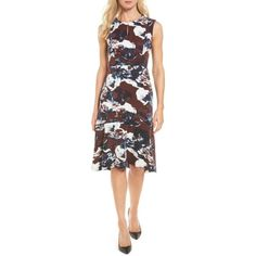 Women's Emerson Rose Print Flounce Hem Dress ($100) ❤ liked on Polyvore featuring dresses, flounce hem dress, sheath dress, frill hem dress, print dresses and ruffle hem dress