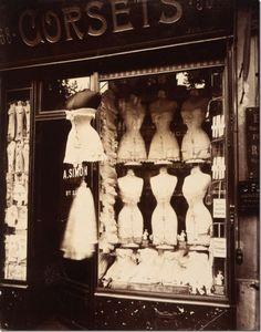 Corset shop in Paris, c. 1900. BOUDOIR pieces: Romantic, vain, convivial, petty— defining Paris