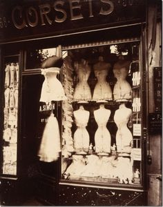 Corset shop in Paris, c. 1900. BOUDOIR pieces: Romantic, vain, convivial, petty— defining Paris