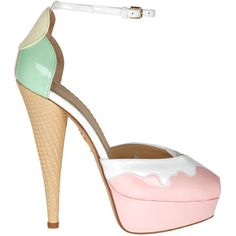 45ce6f0e49b Charlotte Olympia Pink  amp  White Leather  Ice Cream Candy Floss  Peep.