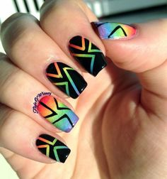 Rainbowed striped Nailart on black base #nails #polish #mani - Share/explore more nail looks at bellashoot.com!