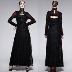 Victorian Gothic Formal Black Lace Evening Dress + Antique Red Shrug SKU-11402820