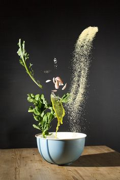 High-Speed Photos of Recipe Ingredients Captured in Mid-Air