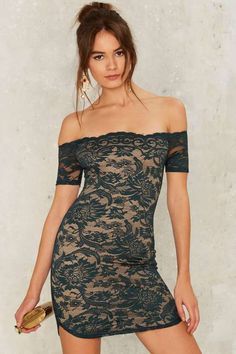Barely There Lace Dress - Cap Sleeve