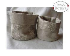 Easy Sewing Pattern for Linen Fabric Reversible Storage Bins - DIY - PDF