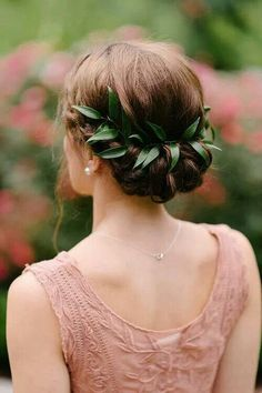 Greenery in Hair--could be half to 1/3 of that amount and offset to one side