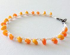 beaded crochet bracelet - hemp with orange glass beads