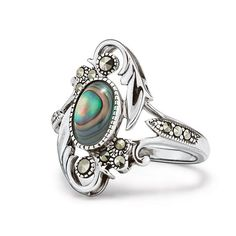 An instant family heirloom! The Sterling Silver Genuine Artisan Abalone Ring is a beautiful piece of jewelry destined to be passed from generation to generation. The timeless piece features an oval Abalone center stone in an open marcasite embellished filigree setting. Regularly $64.99, shop Avon Jewelry online at http://eseagren.avonrepresentative.com