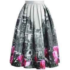 Chicwish Tulip Town Contrast Print Pleated Midi Skirt (145 BRL) ❤ liked on Polyvore featuring skirts, bottoms, saias, gonne, grey, multi color skirt, mid-calf skirt, grey skirt, pleated midi skirt and midi skirt