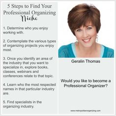 Finding a Niche - Tips for Professional Organizers    #BecomeaProfessionalOrganizer #metrozing