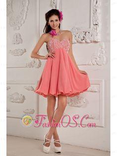 Lovely Watermelon Red A-line / Princess Prom / Homecoming Dress Sweetheart Mini-length Chiffon Beading- $118.79