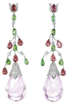 Earrings in white gold with tourmalines, kunzite and diamond Chopard