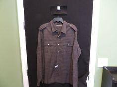 Vince Designer Brown Plaid 2 Pocket Military Style 100% Cotton Shirt XL Mint  #Vince #ButtonFront