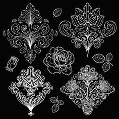 Set of black and white Paisley Pattern vector graphics 02 Stencil Patterns, Zentangle Patterns, Embroidery Patterns, Zentangles, Mandala Tattoo Design, Henna Tattoo Designs, Geometric Mandala, Mandala Art, Motif Art Deco
