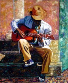 The Guitar Player by Jose Manuel Abraham Guitar Painting, Music Painting, Music Artwork, Guitar Art, Arte Jazz, Jazz Art, African American Art, African Art, Renoir