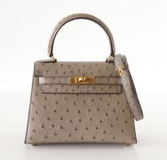 HERMES KELLY bag 20 Vintage Gray Ostrich Mini gold hdw Mint