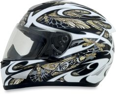 Amazon.com: AFX Dragon Fly Adult FX-95 Street Racing Motorcycle Helmet - White/Gold/Silver / Medium: Automotive