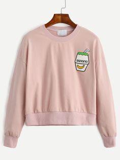 Pink Drop Shoulder Embroidered Sweatshirt -SheIn(Sheinside) Mobile Site