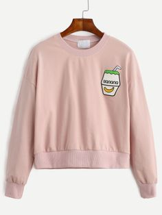 Pink Drop Shoulder Embroidered Sweatshirt -SheIn(Sheinside) Mobile Site
