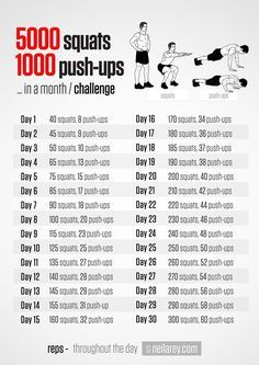 5000 squats and 1000 push ups 30-day challenge...Maybe I'll do this one after I finish the 30 day squat challenge.