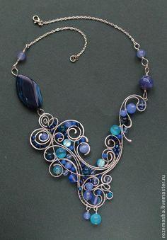 Колье Downton Abbey (вариант в синем) - тёмно-синий,колье,подарок,комплект