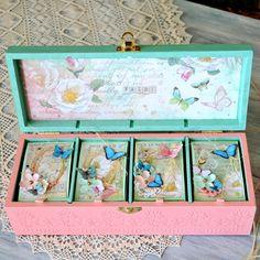 Baby girl memory box, personalized butterflies baby keepsake box - decoupage, mixed media, scrapbooking