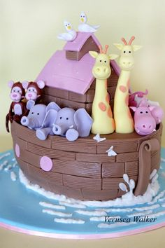 Noah Ark III by ~Verusca on deviantART, what awesome idea. Fondant Cupcakes, Cupcake Cakes, Pretty Cakes, Cute Cakes, Noahs Ark Cake, Quinceanera Cakes, Animal Cakes, Shower Bebe, Cake Pictures