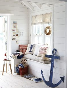Beach cottage idea with bench and cute wall display. Styling shoot for Coast Magazine.