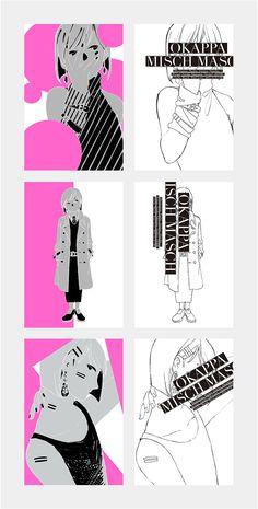 『おかっぱMISCH MASCH ポストカード』 2015.12.29発行 illustration:はちえ ポストカード:上質紙/銀色と蛍光ピンクの2色印刷 封筒:トレーシングペーパー/蛍光ピンクの1色印刷