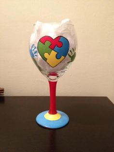 Autism Awareness hand painted wine glass by CrystalsGlassDesigns, $15.00
