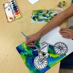 BICYCLE PAINTINGS- STEAM Art LESSON - Art Teacher in LA Art Lessons For Kids, Art Lessons Elementary, Art For Kids, Bicycle Painting, Bicycle Art, Bicycle Design, Classe D'art, Steam Art, School Painting