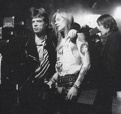 Mick Jagger, Axl Rose and Izzy Stradlin