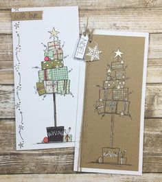 NEW PA Winter Stamps {JoFY Collection} Innovative creativity from PaperArtsy. Paint, stencils, and techniques galore for any mixed media e Christmas Doodles, Christmas Card Crafts, Homemade Christmas Cards, Christmas Art, Homemade Cards, Holiday Cards, Christmas Decorations, Christmas Card Making, Christmas Ideas