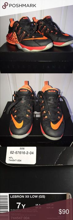 Lebron XII Low Color: Black/ Metallic Silver Orange Gently worn but looks brand new! Nike Shoes Sneakers