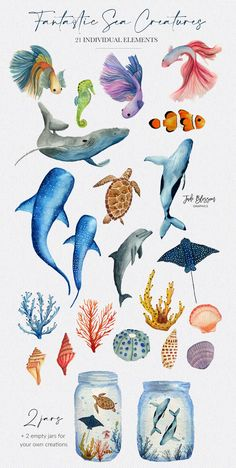 Illustration Sketches, Illustrations, Whale Illustration, Watercolor Ocean, Floral Watercolor, Sea Creatures Drawing, Betta Fish, Fish Fish, Fish Clipart
